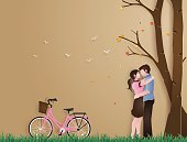 Illustration of love in autumn season,  with couple standing hugging on a grass field with pink bicycle .paper art style.