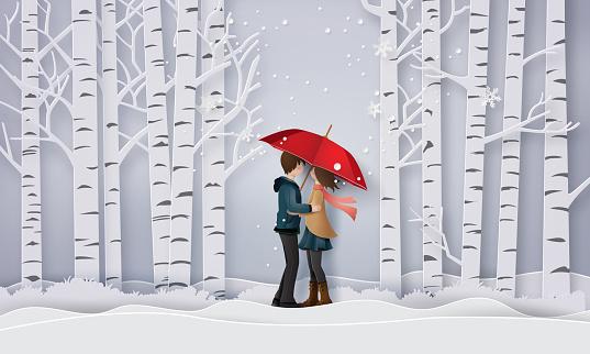 Illustration of Love and winter season