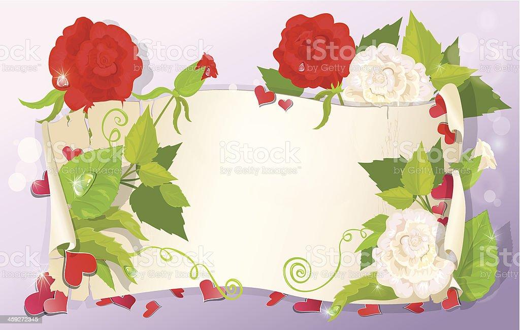 Ilustracion De Ilustracion De Carta De Amor Con Corazones Y Flores Y