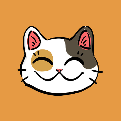 illustration of lucky cat (maneki neko) head