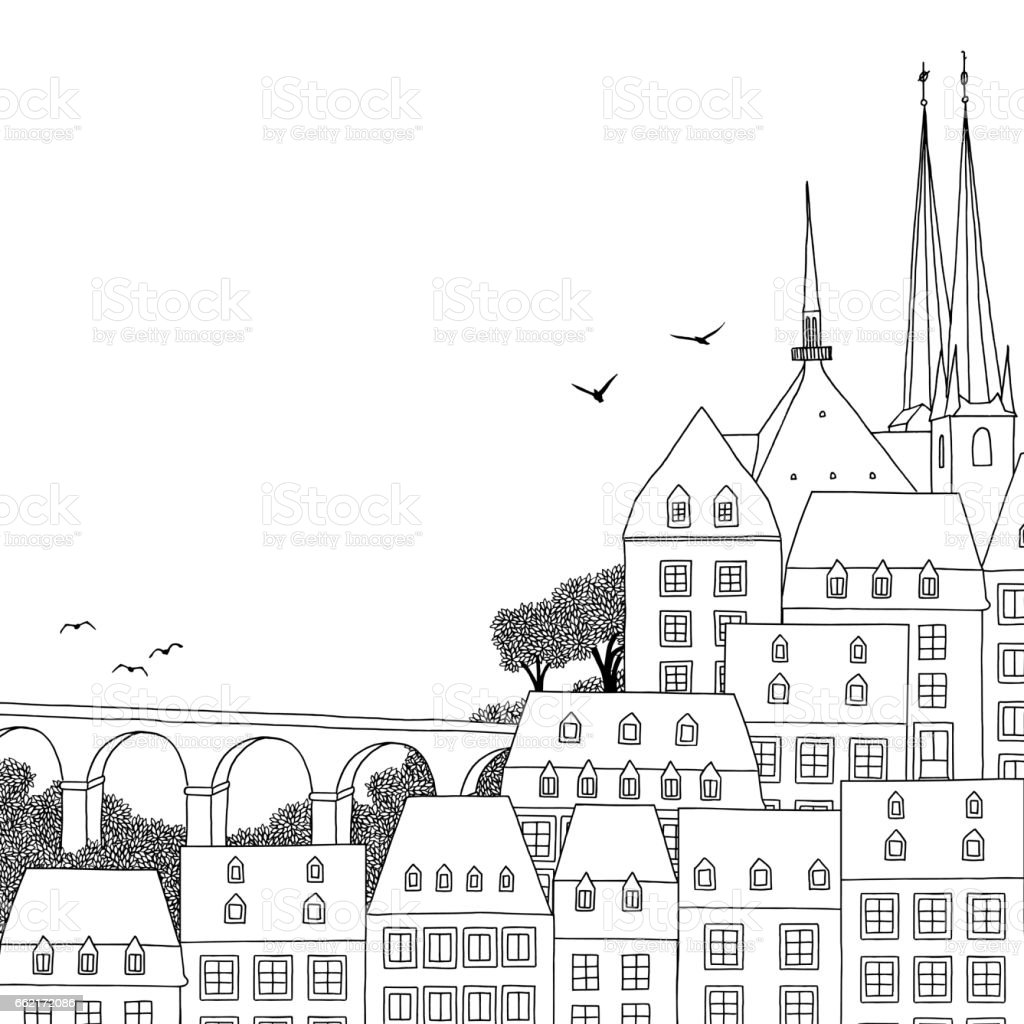 Illustration of Luxembourg City vector art illustration