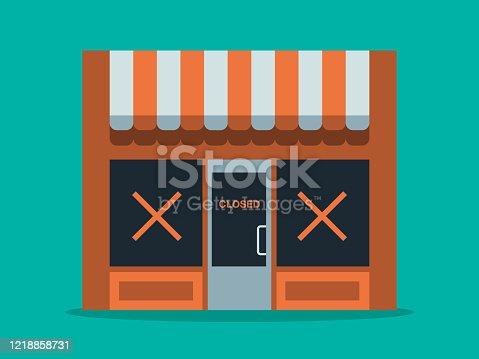 istock Illustration of main street store closure 1218858731