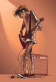 Illustration of male playing electric guitar next to an amp