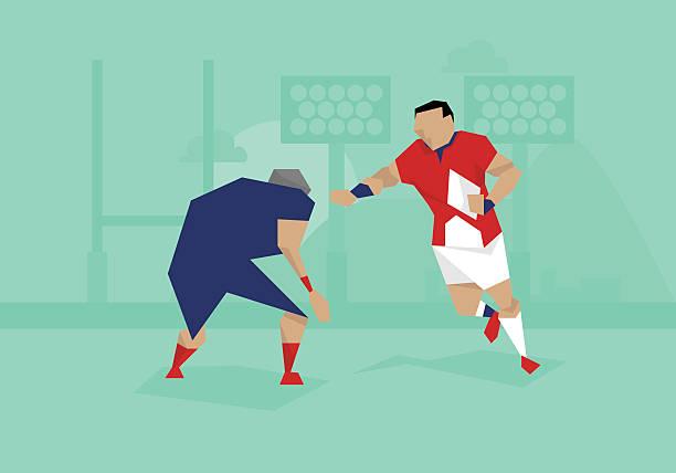 Ilustração de ciclistas competindo em partida de Rugby - ilustração de arte em vetor