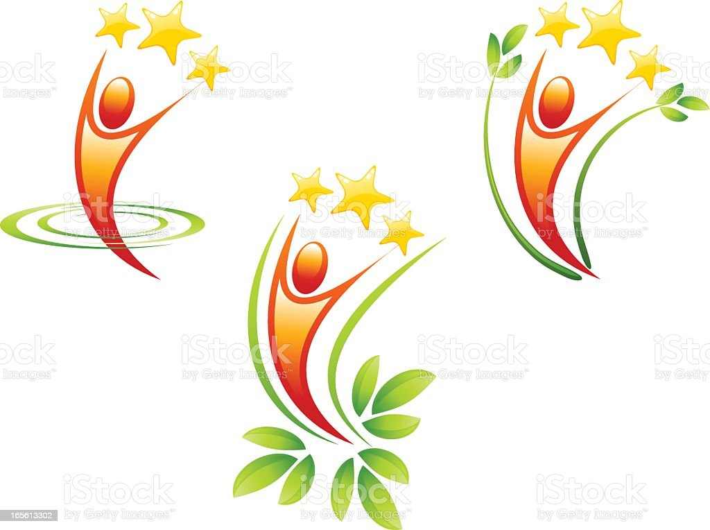 Illustration of man and stars award icons royalty-free stock vector art