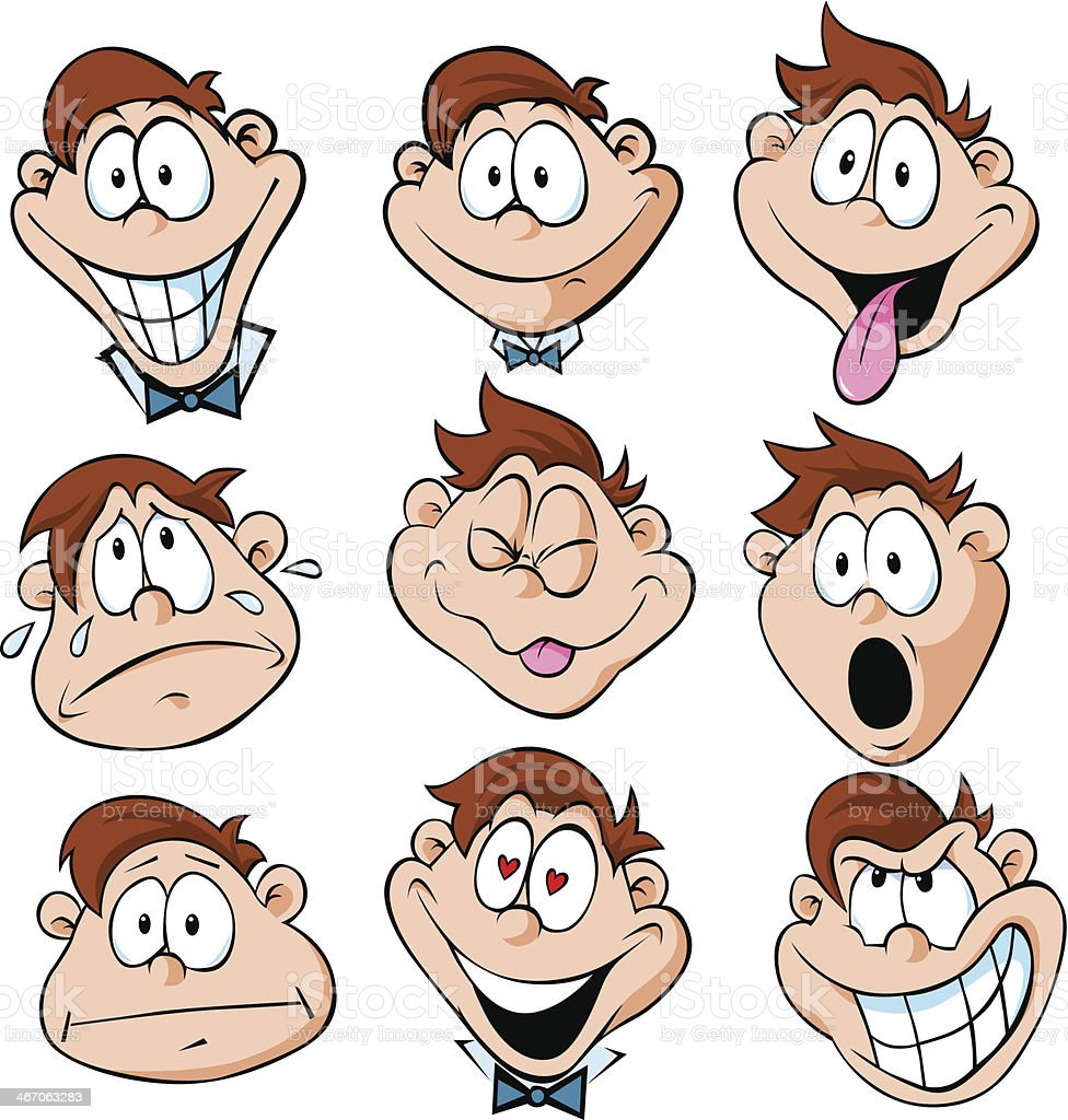illustration of man emotions - with many facial expressions royalty-free stock vector art