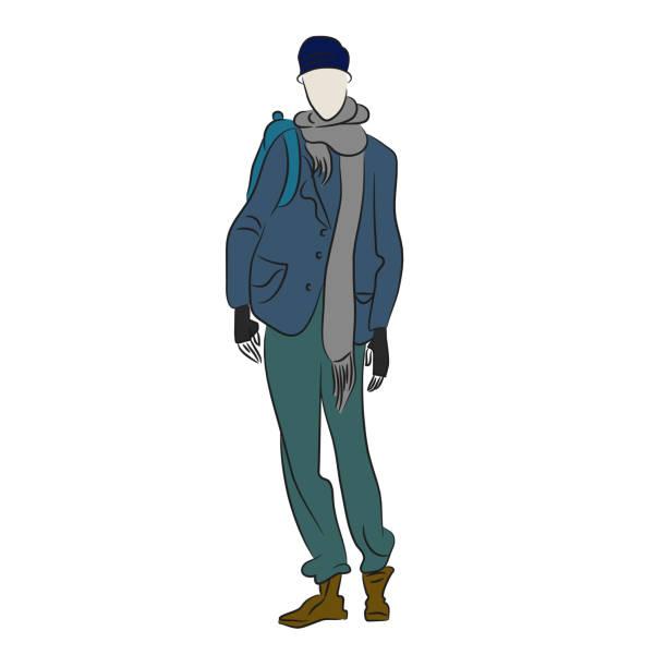darstellung des menschen im winterjacke isoliert. person in graue hose, langer schal und blaue kappe. mode-skizze. süßes model-couture-show. rabatte und verkauf konzept. warme kleidung. vektor - parkas stock-grafiken, -clipart, -cartoons und -symbole