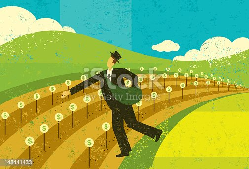 A businessman planting the seeds for future financial growth.The man and background are on separate labeled layers.