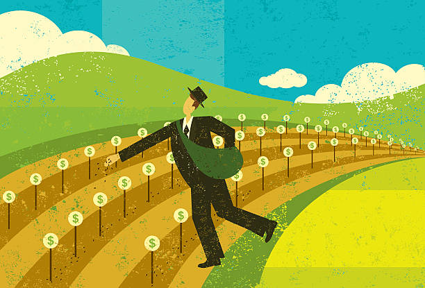 Illustration of man planting seed for financial growth A businessman planting the seeds for future financial growth.The man and background are on separate labeled layers. RETROROCKET stock illustrations