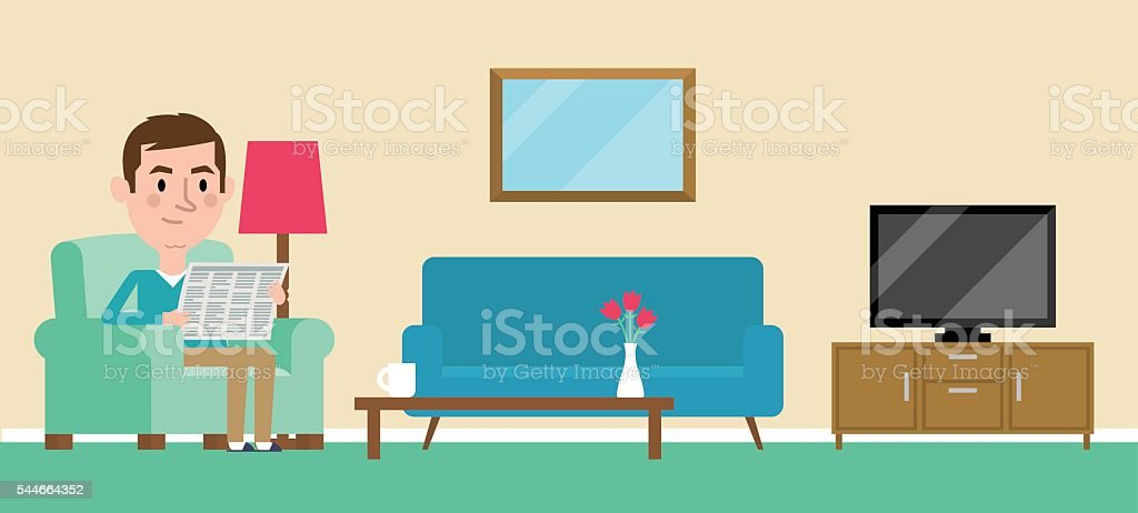 Illustration Of Man Relaxing At Home Reading Newspaper