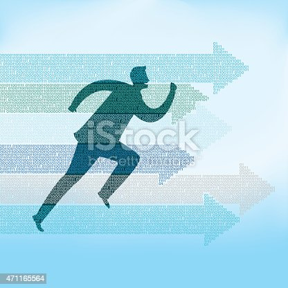 istock Illustration of man running with arrows pointing 471165564