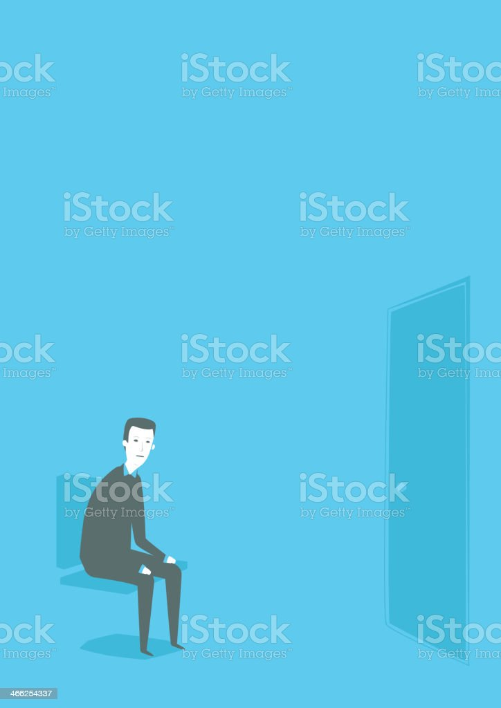 Illustration of man sitting on chair expecting vector art illustration