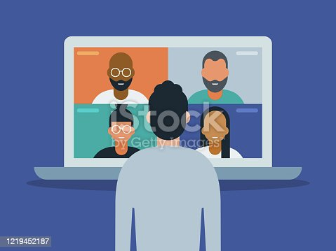 istock Illustration of man using laptop computer for video conference 1219452187