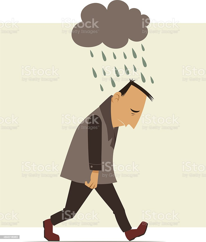 Illustration of man walking under rain cloud vector art illustration