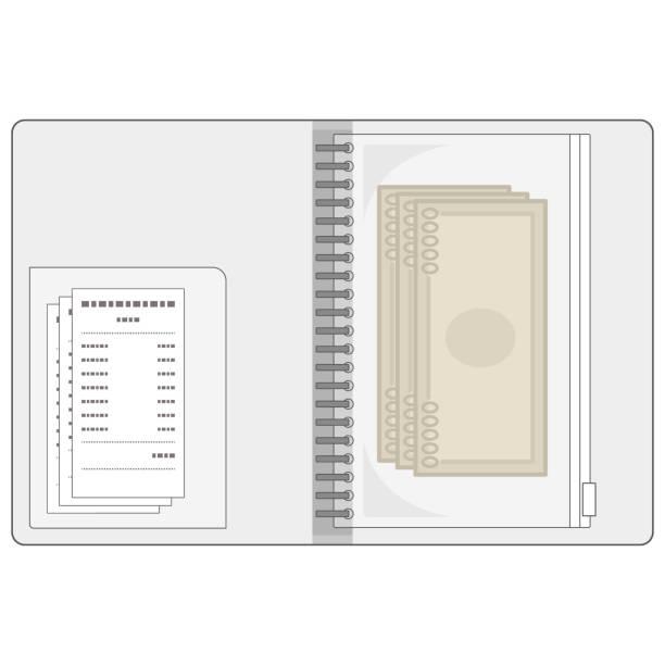 バインダーでお金を管理するイラスト。 - カードファイル点のイラスト素材/クリップアート素材/マンガ素材/アイコン素材