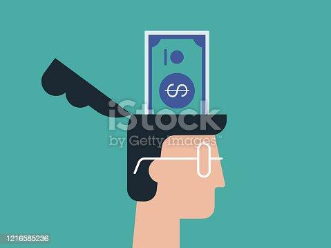 istock Illustration of man's head with dollar bill inside 1216585236