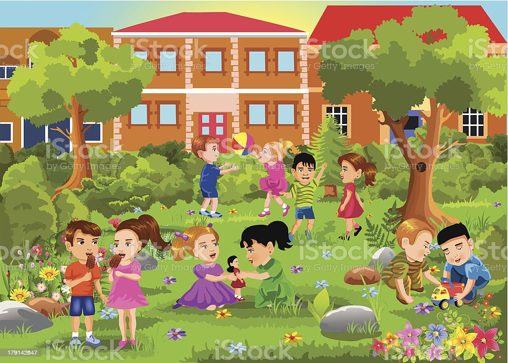 Illustration of many children playing in the park vector art illustration