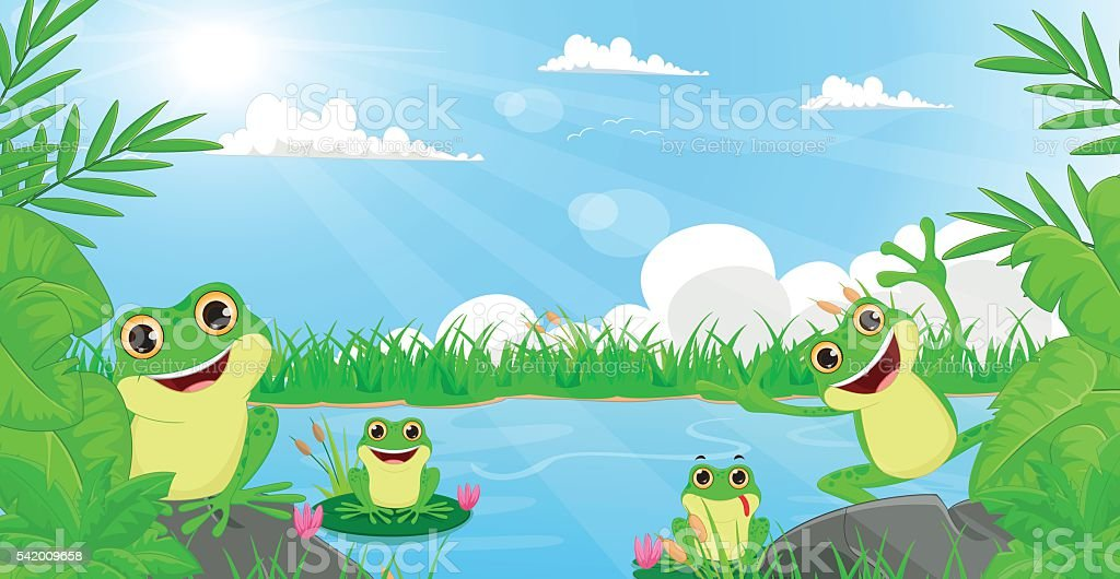 illustration of many frog playing in the river vector art illustration