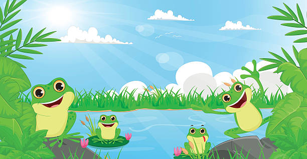 illustration of many frog playing in the river - pond stock illustrations