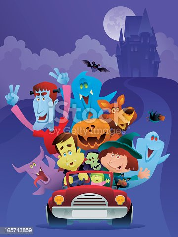 istock Illustration of many monsters in a red car for Halloween 165743859