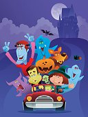vector illustration of happy vampire driving his friends at halloween night….