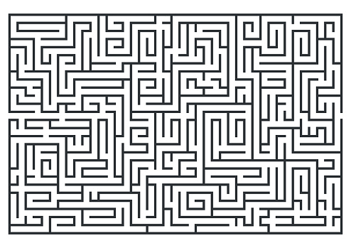 illustration of maze, labrinth. Isolated on white background. Medium difficulty.