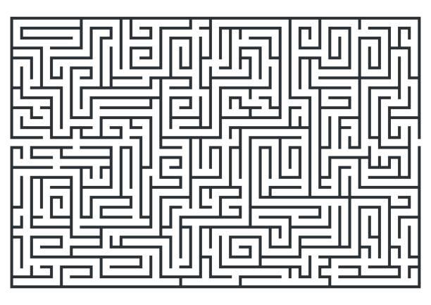 illustration von labyrinth, labrinth. isoliert auf weißem hintergrund. mittlerer schwierigkeit. - labyrinthgarten stock-grafiken, -clipart, -cartoons und -symbole