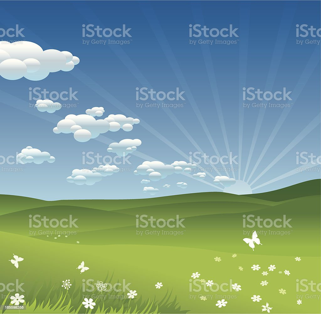 Illustration of meadow with flowers and butterfly clear day royalty-free stock vector art