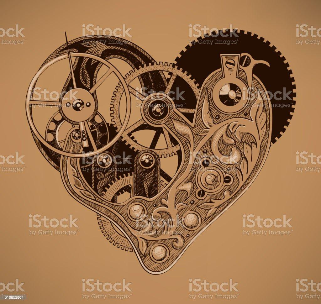 Illustration of mechanical heart vector art illustration