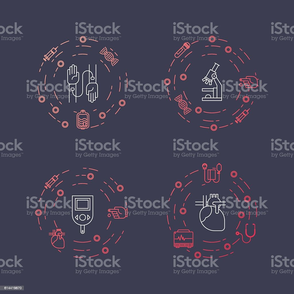 Illustration of medical and health object. Concept made in line vector art illustration