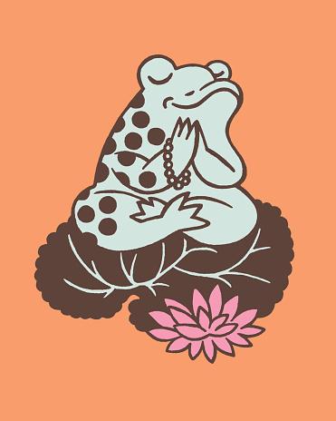 Illustration of meditating frog