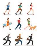 Illustration of Men and Women Running