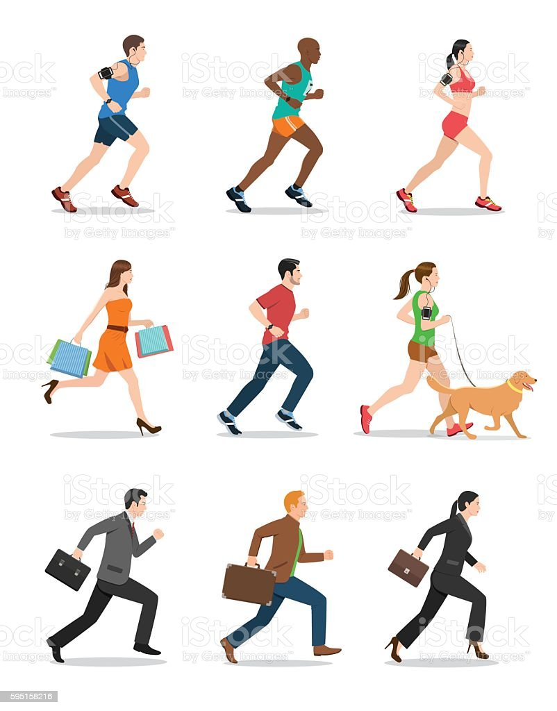 Illustration of Men and Women Running vector art illustration
