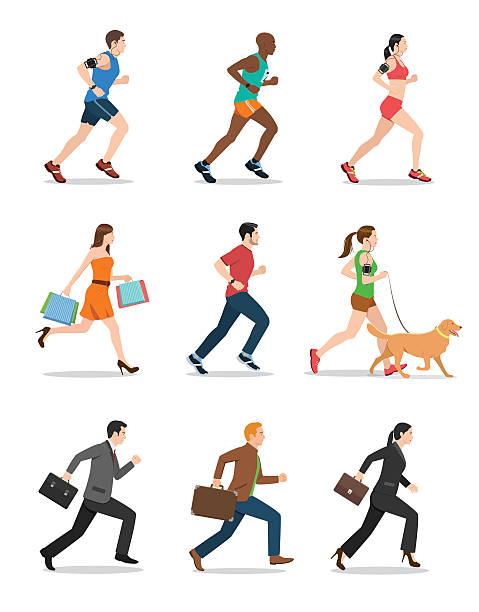 illustrations, cliparts, dessins animés et icônes de illustration of men and women running - running