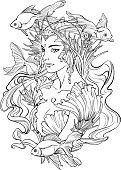 Illustration of mermaid princess and goldfishes.