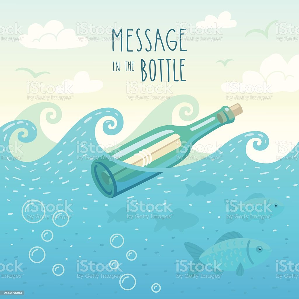 Illustration of message in the bottle vector art illustration