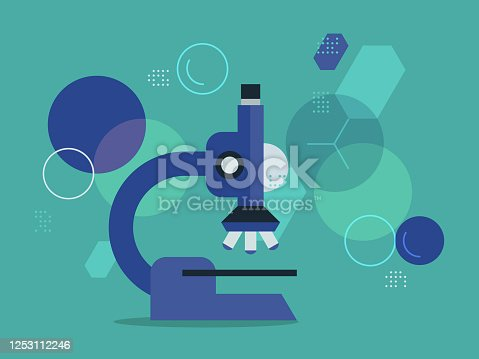 istock Illustration of microscope with magnified cell pattern background—scientific and medical research 1253112246