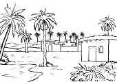 Illustration of Middle east rural view. Ink drawn sketch Vector