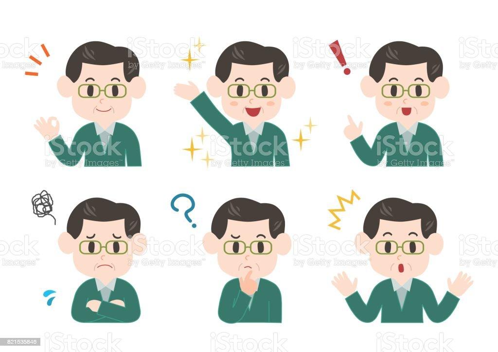Illustration of middle-aged man vector art illustration