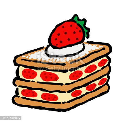 istock Illustration of Mille-feuille: Illustration like hand drawn illustration with ink and brush 1271518077
