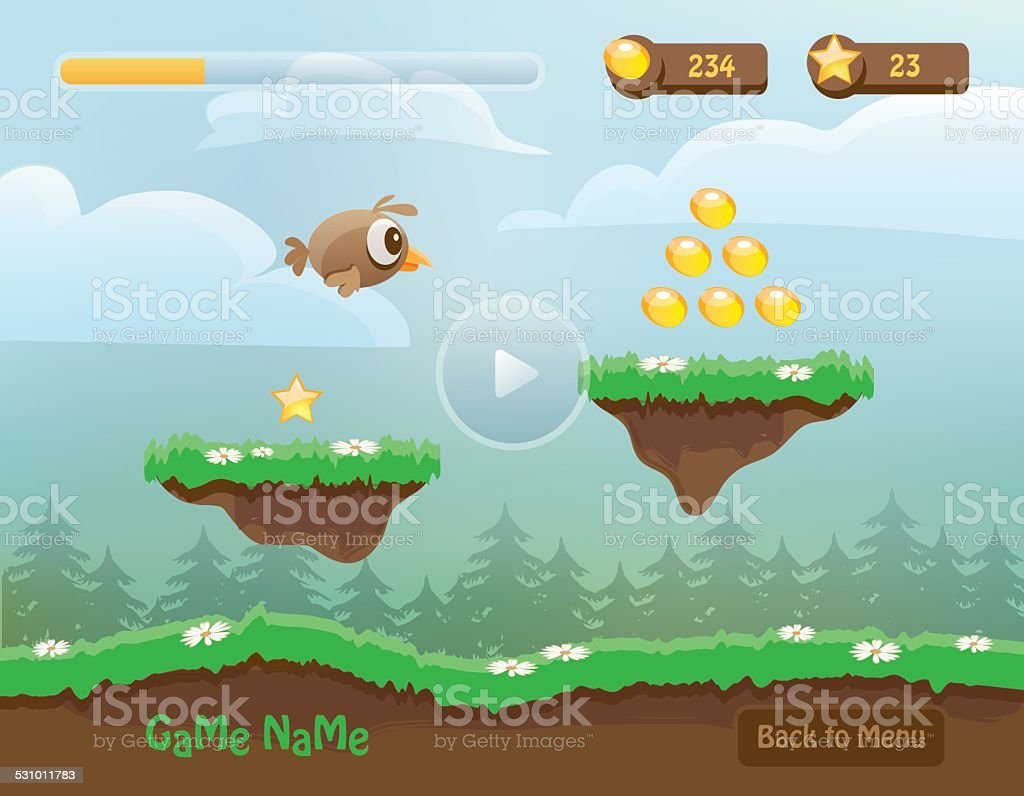 illustration of mobile app game landscape level background image vector art illustration