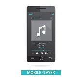 illustration of mobile phone and media player