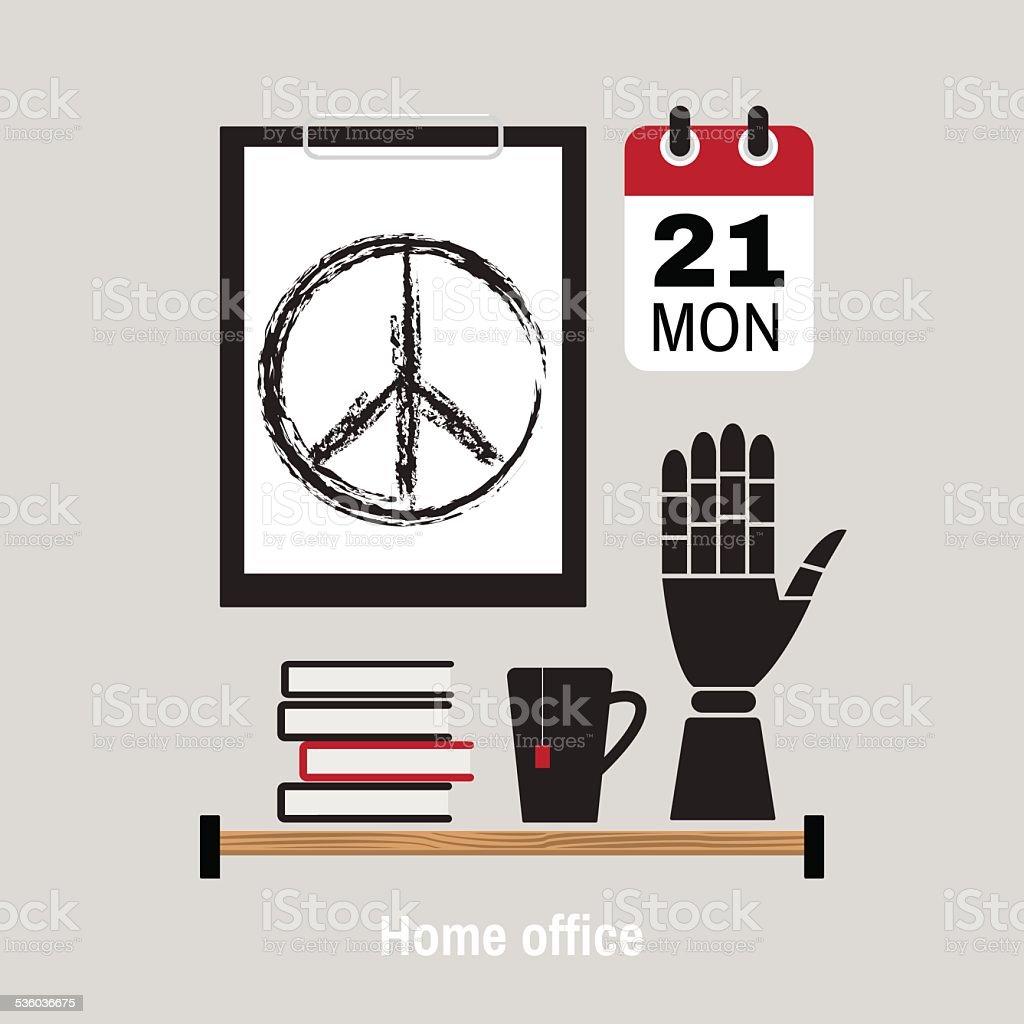 Illustration of modern home office workspace. vector art illustration
