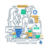 Illustration of vector modern line flat design coffee break composition and infographics elements with man and woman