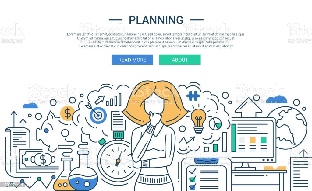 Illustration of modern line flat design planning process composition and vector art illustration