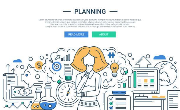 イラストレーションのモダンなラインフラットデザインの構成とご計画のプロセス - 研究のインフォグラフィック点のイラスト素材/クリップアート素材/マンガ素材/アイコン素材