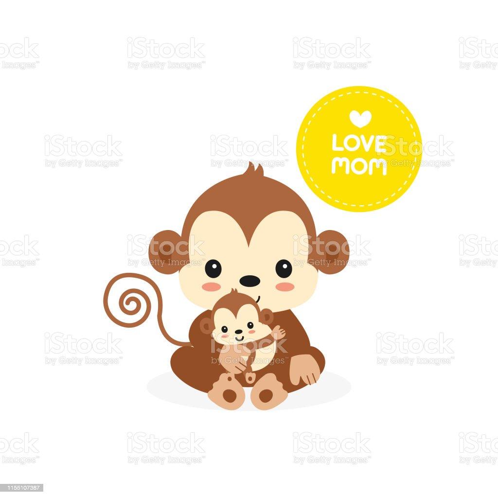 Vetores De Ilustracao Dos Desenhos Animados Do Macaco Da Mama E Do