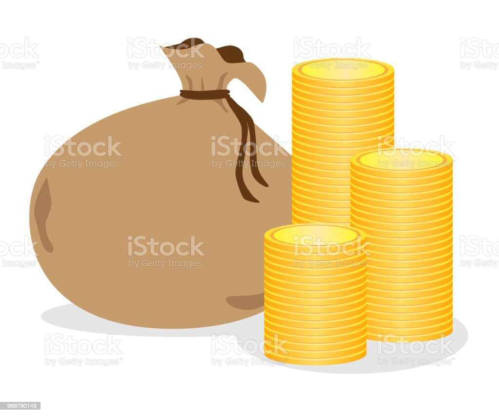 Illustration of money and bags. vector art illustration