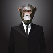 Illustration of Monkey in jacket with tie. Vector polygonal elements.