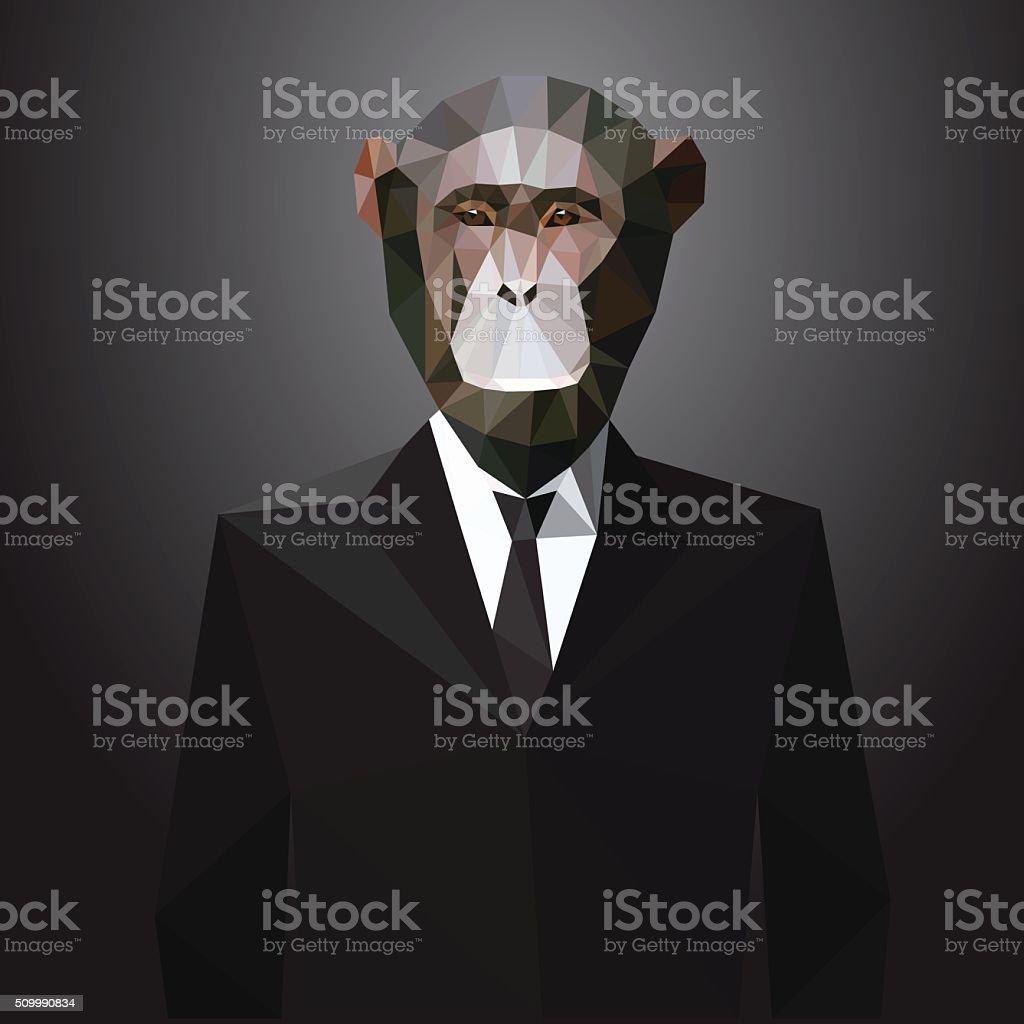 Abbildung eines Affe in der Jacke. Vektorelemente – Vektorgrafik